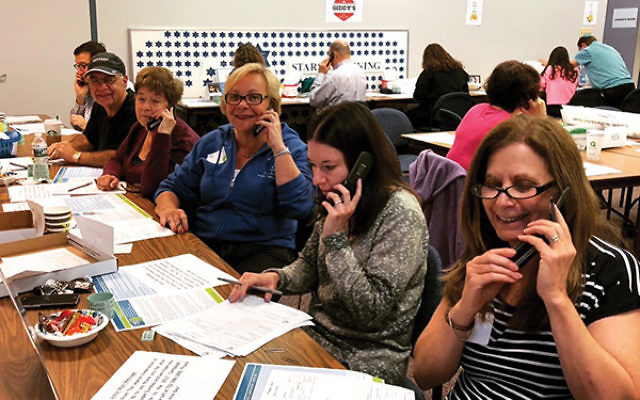 Volunteers from Solomon Schechter Day School of Greater Monmouth County in Marlboro make calls on Super Sunday. Photos courtesy Jewish Federation in the Heart of NJ