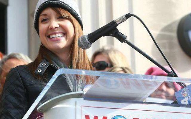 Elizabeth Meyer, founder of the Women's March on New Jersey, in Morristown Jan. 20. Facebook
