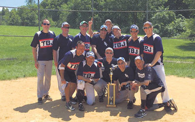 Temple B'nai Jeshurn, winners of the B Division title, include, top row, from left, Paul Talbert, David Stecklow, Brett Freimauer, Dan Jacobs, Mike Birnberg, Eli Heitin, Rich Blann, and Jason Conn. Bottom row, from left, Brett Rodriguez, Darren Port