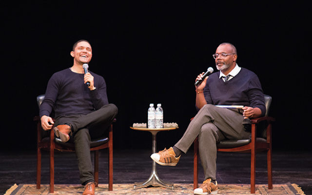 """Trevor Noah, left, host of """"The Daily Show,"""" answers questions from Chris Jackson, about his autobiography, """"Born a Crime,"""" at the opening event of the Montclair Literary Festival. Photo courtesy of Tony Turner Photography"""