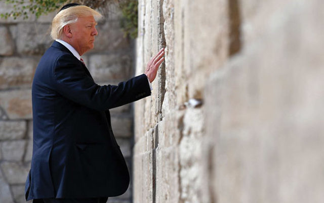 President Trump is the first sitting U.S. president to visit the Western Wall. MANDEL NGAN/AFP/Getty Images