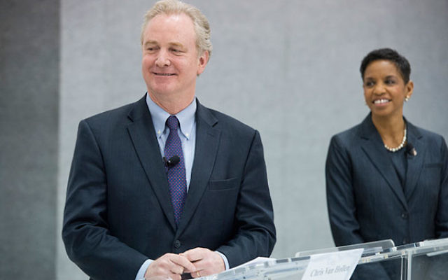 Reps. Chris Van Hollen and Donna Edwards, D-Md., participating in a Democratic forum at the Woodlawn Senior Center in Gwynn Oak, Md., April 9, 2016. (Tom Williams/CQ Roll Call)