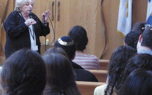 Eva Wiener of Neptune tells students about her family's experience as passengers on the S.S. St. Louis in 1939. Photo by Johanna Ginsberg