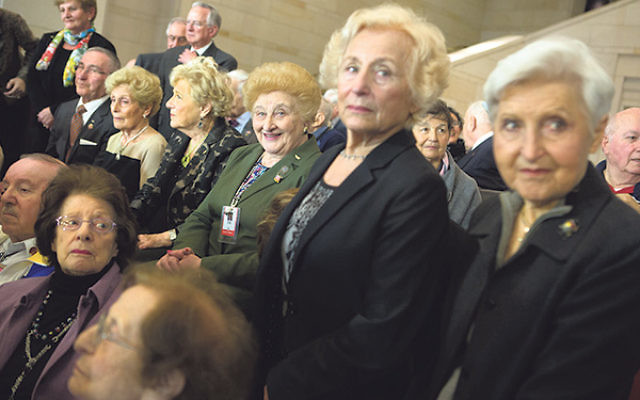 Holocaust survivors attending an event at the U.S. Capitol building in Washington, DC, honoring the victims of Nazi persecution, April 30, 2014.