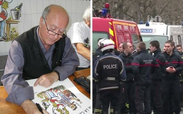 Celebrated French Jewish cartoonist Georges Wolinski, left, was killed in the attack on the satirical newspaper Charlie Hebdo. At right, police officers respond to the shooting, Jan. 7, 2015. (Wikimedia Commons and Youtube)