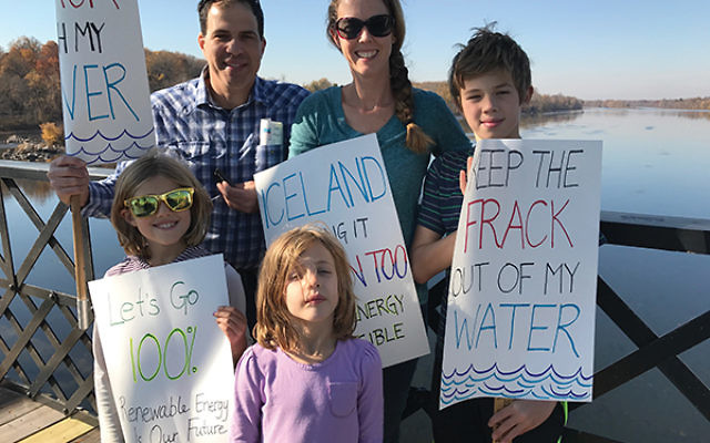 Jenny Ludmer and her family protested fracking at the Delaware River Basin. She is pictured with her husband, Phil, and, from left, Lily, Jocelyn, and Justin.  Photo courtesy Jenny Ludmer