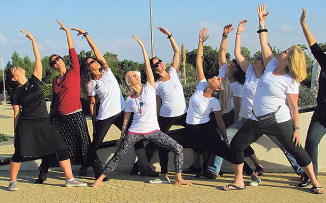 NJ yoga teachers and Israeli P2G staff in Ofakim in November.