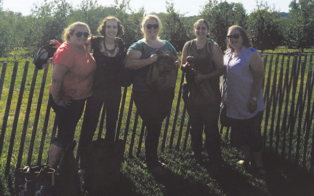 Members of Young Jewish Professionals of Perth Amboy go apple-picking in advance of Rosh Hashana.