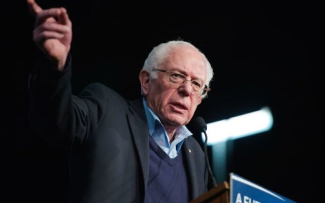 Democratic presidential candidate Sen. Bernard Sanders, I-Vt., speaking at a Get Out the Vote rally in Manchester, New Hampshire, Feb. 8, 2016. (Meredith Dake-O'Connor/CQ Roll Call)