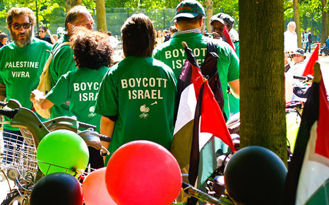 Demonstrators gather in Paris urging a boycott of Israel, 2009.