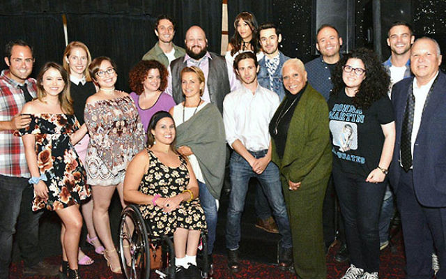 """The cast and crew of """"Donna Martin Graduates,"""" including Lizzie Leader and Kat Spada, third and fourth from left, Gabrielle Carteris, seventh from left, and Denise Dowse, fifth from right. Lindsay Rosin is third from right. (Courtesy of Abel A"""