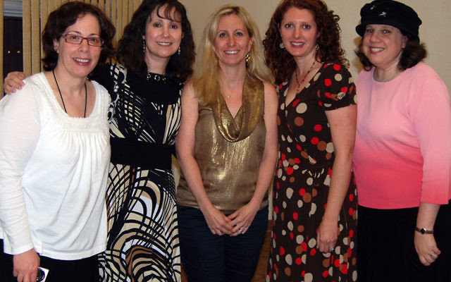 The speakers describing what is Jewish about breast cancer at the first event of a new community partnership, are, from left, Shera Dubitsky, Jessica Savitt, Dana Richter, Sherry Grumet, and Shari Bloomberg. Photos by Elaine Durbach