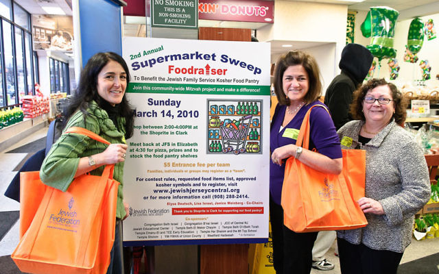 Cochairs, from left, Lisa Israel, Elyse Deutsch, and Janice Weinberg are hoping for a big turnout for the Supermarket Foodraiser Sweep this Sunday, March 27. Photo by Dave Hollander
