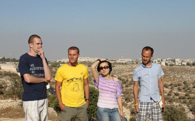 """Ryan Mauro, second from left, won a """"Once in a Lifetime"""" trip to Israel along with, from left, Dan Redford, Sun Jin-Yi, and Chas Newkey-Burden. Photo courtesy Ryan Mauro"""