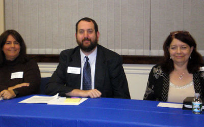 Panelists at the Oct. 18 at Educational Forum on Hospice and Palliative Care at the Wilf campus in Scotch Plains included, from left, Dr. Beth Popp, Rabbi Bryan Kinzbrunner, and Lora Speiser-Goldberg.