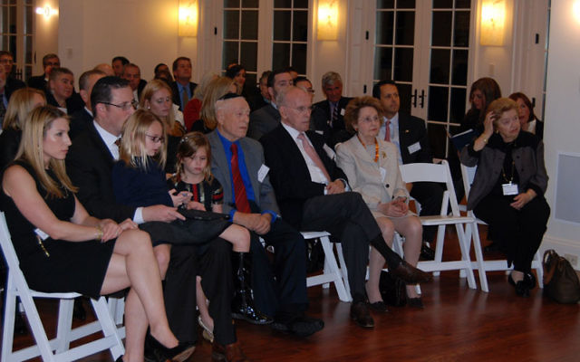 At the Nov. 16 Pacesetter event at their home, from left, Abbi and Jeremy Halpern and their daughters join Sam Halpern, Joe and Suzie Wilf, and Gladys Halpern. Photos by Elaine Durbach