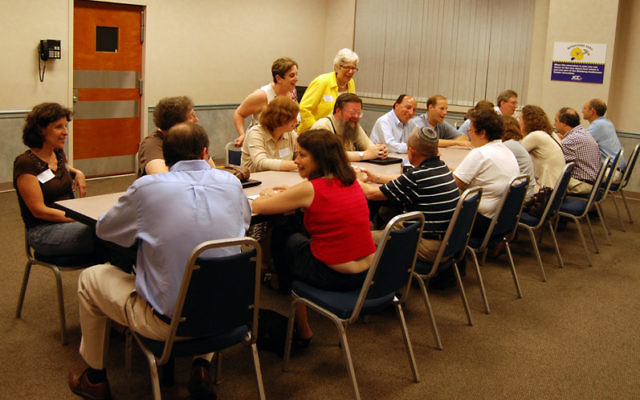 """People interested in expanding their work contact met for a """"speed-networking"""" session in Scotch Plains run by the JFS Economic Response Initiative. Photos by Elaine Durbach"""
