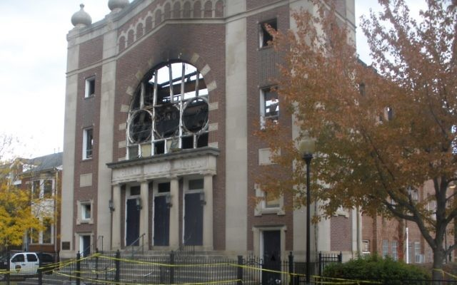 Congregation Poile Zedek's roof collapsed during a devastating fire.