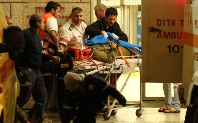 Israeli soldiers being evacuated at the Hadassah Ein Kerem hospital in Jerusalem, Nov. 5, 2014. Three Israeli soldiers were injured when a Palestinian driver rammed into the soldiers near the West Bank village of Al Aroub close to the Gush Etzion junction