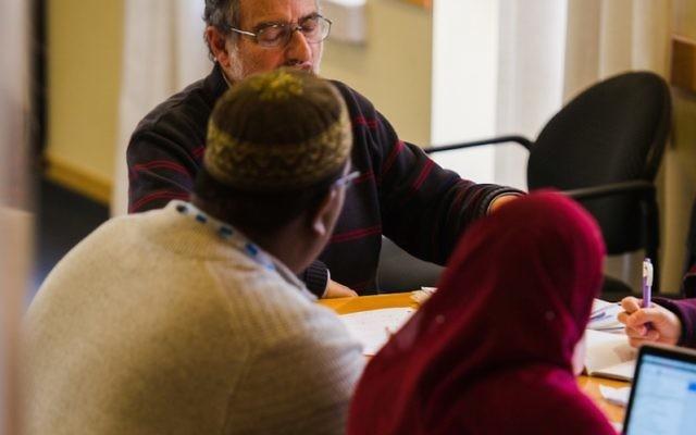 The Shalom Hartman Institute's Noam Zion working with Muslim Leadership Initiative participants in Jerusalem, January 2016.