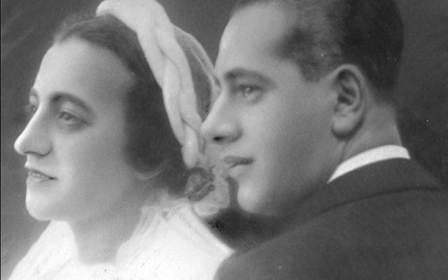 Ernestyna and Chaskel Goldwasser at their wedding, 1936