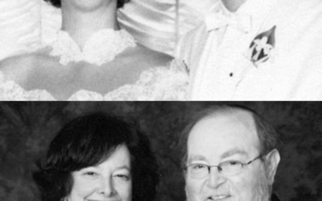 Arlene and Samuel Kaye at their 1960 wedding, top; and today.