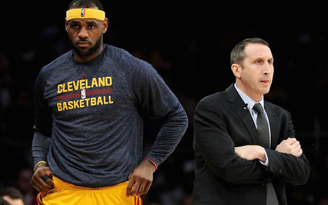 LeBron James with David Blatt during a 109-102 Cavaliers win over the Los Angeles Lakers, Jan. 15, 2015 (Harry How/Getty Images)