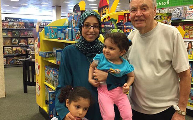 Leena Al-Arian, left, with glasses, described a heartwarming encounter with a 90-year-old Jewish man named Lenny. (Facebook)