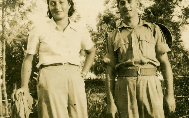 Hannah Senesh and a soldier on a kibbutz in Palestine, 1943.