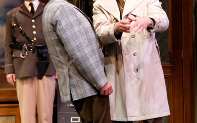 Jeffrey M. Bender, Andrew Weems, and Kevin Isola appear in the Shakespeare Theatre of New Jersey's current production of Accidental Death of an Anarchist. Photo by Gerry Goodstein