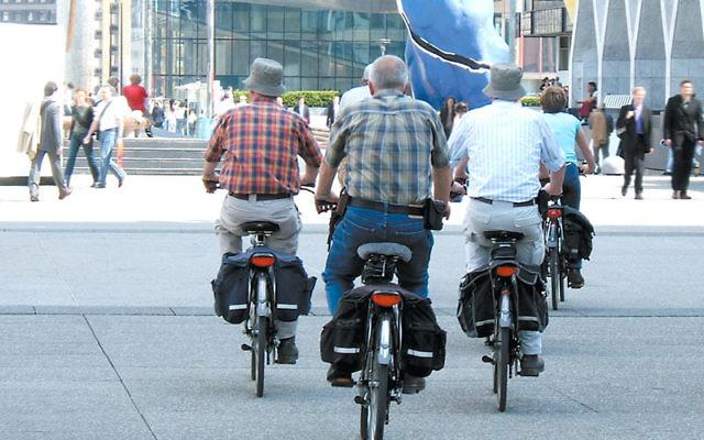 Seniors riding bicycles