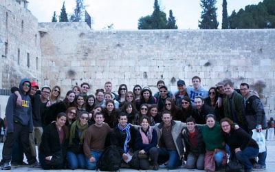 A Birthright group at the Kotel in Jerusalem. Photo courtesy Adam Osborne