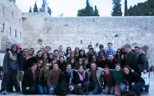 A Birthright group at the Kotel in Jerusalem. Photo courtesy Adam Osborne