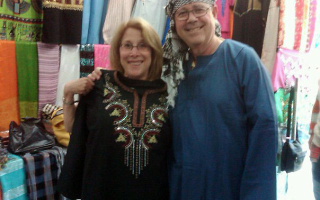"""Rachel and Mark Steinberg in a Cairo souk, during the initial """"blissful"""" part of their Egyptian vacation."""