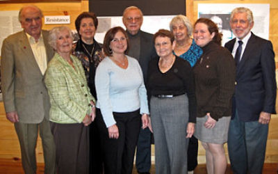 At the Nov. 8 Kristallnacht commemoration at the Jewish Heritage Museum of Monmouth County are local Holocaust survivors and event organizers, from left, Fred Spiegel, Helena Flaum, Judith Meisels, Brookdale center executive director Dale Daniels, Gerard