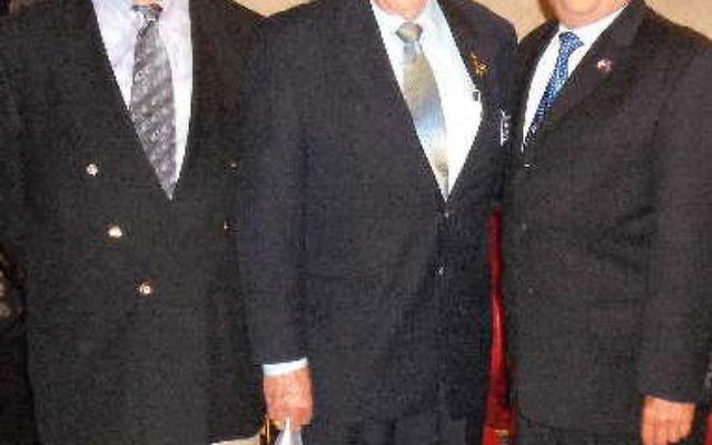 Irwin Gerechoff, left, incoming commander of the NJ Jewish War Veterans organization, with his predecessor, Bernard Epworth, center, and Harvey Fox, new senior vice commander.