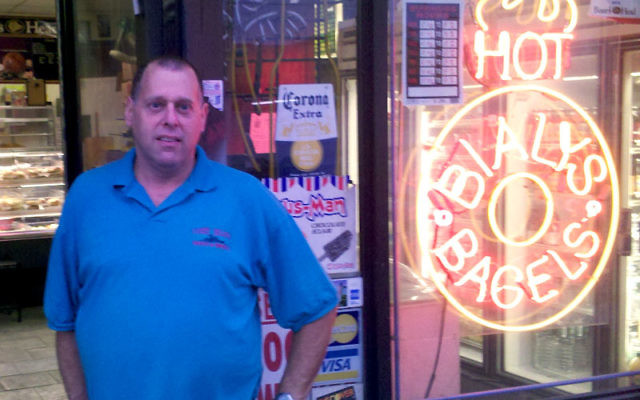 """Steven Ross at Coney Island Bialys & Bagels in Brooklyn; giving up the landmark bakery, he said, will be """"heartbreaking."""""""