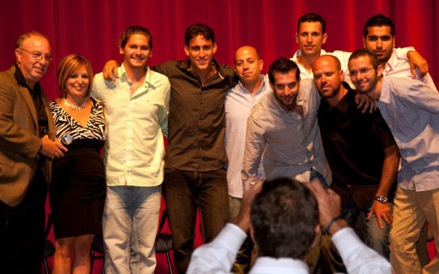 At the Hope for Heroism program at the Deal JCC are, from left, Yossi Teichman, Shouli Teichman, Tom Schecter, Shachaf Segal, Itzik Naftali, group leader Guy Preiss, Lior Malul, Ehud Amiton, and, rear, Yossi Cohen and Michael Amoyev. Photos courtesy Mar