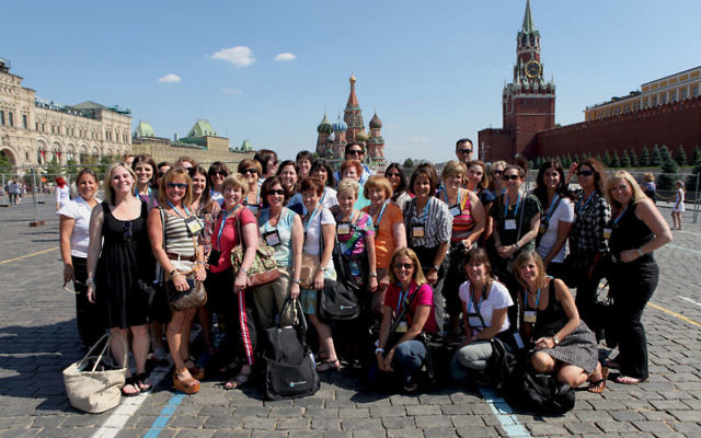 Sheryl Grutman, second row, fourth from left, with members of the Jewish Federations of North America's 2011 Campaign Chairs and Directors Mission in front of the Kremlin. Photos courtesy Jewish Federations of North America