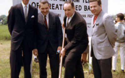 Board members taking part in the 1966 ground breaking at the current location on Hance Avenue in Tinton Falls are, from left, Robert Newman, the late Warren Jailer, Albert Goldstein, and Gerson Friedman, then president of the United Jewish Council of Grea