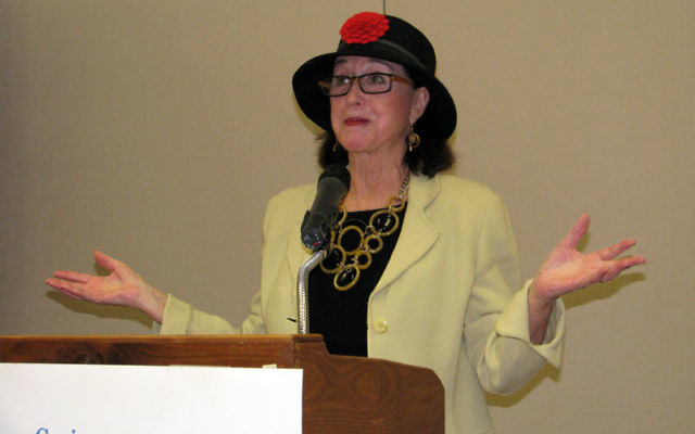 Judith Viorst makes a point about parenting as she addresses attendees at the May 4 Jewish Family Service of MetroWest community forum. Photo by Robert Wiener