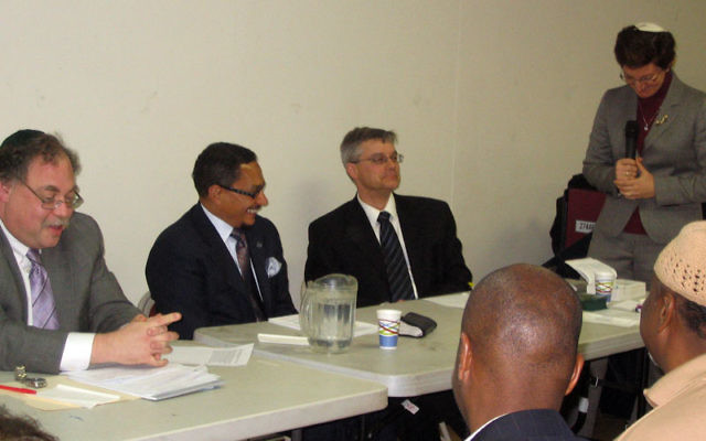 Clergy gathering Nov. 7 to discuss the figures of Adam and Eve at the Baird Center in South Orange are, from left, Rabbi Alan Brill, Imam W. Deen Shareef, and Pastor Rick Boyer; Rabbi Francine Roston, right, served as moderator.