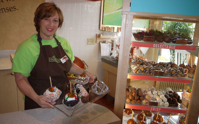 Arlyn Rayfield of Randolph, a past president of the Bohrer-Kaufman Hebrew Academy of Morris County, can now be found behind the counter of the Rocky Mountain Chocolate Factory store she opened in Chester on July 21 with her husband, Marty Schayowitz. Phot