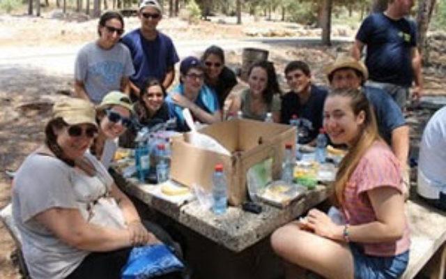 Diller teen fellows have lunch in the Carmel Forest near Haifa. Photo courtesy Diller Teen Fellows