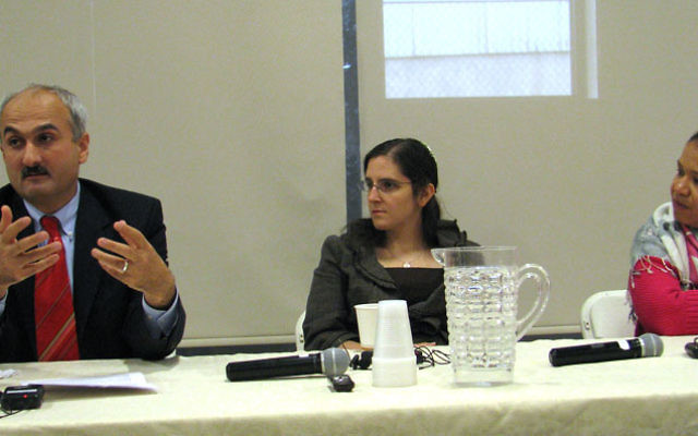 Levent Koc, Ariann Weitzman, center, and the Rev. Andrea Walker consider spirituality and violence in the Middle East. Photo by Robert Wiener
