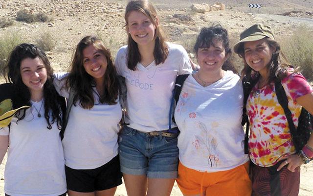 On a field trip in the Negev are girls taking part in Alexander Muss High School in Israel in February, from left, Mihal Grinberg, West Orange; Jordan Eglow, Millburn; Lilli Gottesman DeBode, Summit; Brittany Kahn, Kinnelon; and Sophie Schoenberg, Millbur