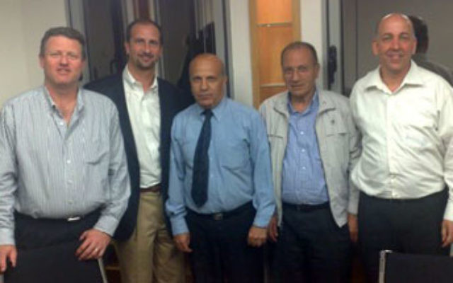 Jeff Cohen, second from left, in Tel Aviv with partners in the UJC Social Venture Fund in March