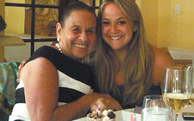 Elayne Braunstein celebrates her 70th birthday in early June with her granddaughter, Natalie Lazaroff, whose senior thesis examines Weequahic High. Photo courtesy Natalie Lazaroff