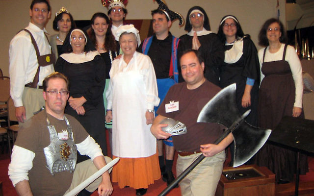 """Members of last year's Purimshpiel cast at Temple Emanu-El of West Essex in Livingston performed """"The Sound of Purim."""""""
