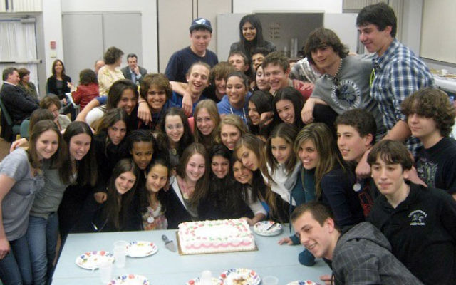 Diller teen host Sydney Hershman of Towaco, front row, third from left, celebrated her birthday at the program's farewell dinner just before the Israeli contingent returned to Rishon Letzion. Photo courtesy Partnership for Jewish Learning and Life